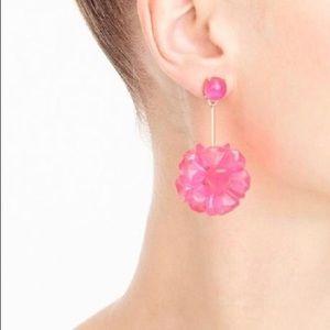 J.crew Neon Pink Flower Earrings